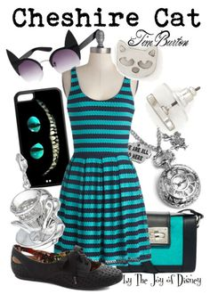 Outfit inspired by the Cheshire Cat from the Tim Burton version of Alice in Wonderland!