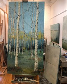 Janine Medlin, on the easel. Re-working an Aspen piece. (Or Birch for the New England folks). Aspen Trees, Golden Leaves, New Iphone, Easel, Birch, New England, Serenity, Folk, Fine Art