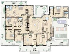 Traditional Style House Plan - 4 Beds 4 Baths 3388 Sq/Ft Plan #36-234 Main Floor Plan - Houseplans.com Flip plan. Remove bathroom in garage w/large WIC for Inlaw ste w/ cont'd covered porch &access outside. Dining room for Gunroom.