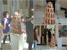 """One of my terracotta pieces, """"Construction"""", at the 2015 Annual Religious Art Exhibition, Village Museum, Bucharest"""