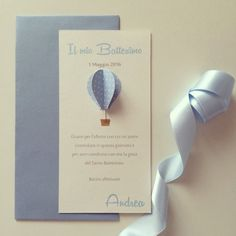 Image of Inviti battesimo - mongolfiere 3D baby boy