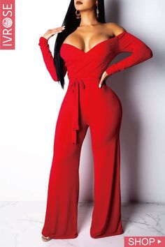 f976206f27f Shop Off Shoulder Tied Waist Jumpsuit – Discover sexy women fashion at  IVRose