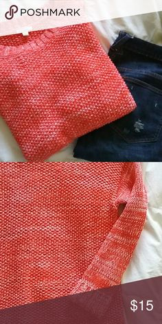 Gap Sweater, S Red and white marbled sweater, loose fitting, comfy, perfect for the holidays! GAP Sweaters Crew & Scoop Necks