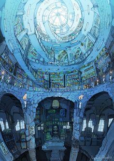 gallery ギャラリー(出水ぽすか) of New Site 1 Fantasy City, Fantasy Places, Fantasy Kunst, Fantasy World, Bg Design, Fantasy Concept Art, Environment Concept Art, Anime Scenery, Fantasy Landscape