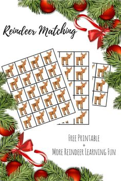 Practice the letters of the alphabet with this matching upper and lowercase reindeer letter matching game. More reindeer themed learning fun for kids linked in the post. #Christmas #printables #freeprintable #reindeer #literacy