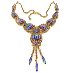 Vintage 1960s Rivoli Blue & Purple Paste Glass Rhinestone Necklace | Clarice Jewellery