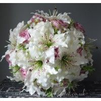 Bridal Bouquets - Tiger Lilies Roses Gyp & Foliage - Personalise - Choose Rose Colours & Embellishments Pink Wedding Theme, Rose Wedding Bouquet, Bridal Flowers, Uk Bride, Pink Color Schemes, Gypsophila, Tiger, Artificial Flowers, Flower Designs