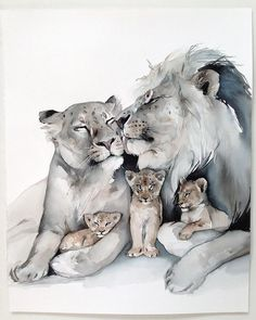 63 Ideas for baby drawing art artists Animal Sketches, Animal Drawings, Art Drawings, Family Drawing, Baby Drawing, Watercolor Artwork, Watercolor Animals, Lion Family, Lion And Lioness