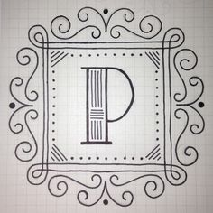 Here's my Day 16 design for 36 Days of Type, the letter P. My line work is pretty sloppy on this because I was up late doing my taxes last night. (For the record, procrastinating something importan… Typography Poster, Graphic Design Typography, Lettering Design, Hand Lettering, Lettering Ideas, Punch Needle Patterns, Japanese Typography, Drawing Letters, Drop Cap