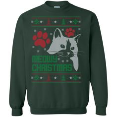 """Meowy Ugly Christmas Sweater-style Printed Tee! T-Shirt & Long Sleeve, Sweatshirt"" Sale Off 20% Today. Limited Availability This item is NOT available in s"