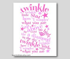 Twinkle Twinkle Little Star Giclee Print for Nursery Wall Art, Perfect for a Boy or Girl in Pink, Purple or Blue or Choose Your Own Colors. $15.00, via Etsy.