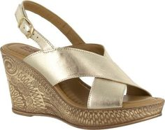 Bella Vita Women's Lea-Italy Slingback Wedge Sandal Gold Leather Size 8 M