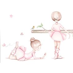 "Mural infantil personalizado ""bailarinas i"" - Complementos de decoración infantil Ballerina Nursery, Ballerina Painting, Baby Illustration, Watercolor Illustration, Dancing Drawings, Ballet Pictures, Ballet Art, Cute Wallpaper For Phone, Elephant Nursery"