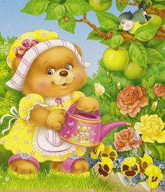 ***Most Beautiful Paintings*** Teddy Bear Cartoon, Teddy Bears, Most Beautiful Paintings, Sweet Drawings, Country Bears, Nostalgic Art, Cartoon Clip, Collage Maker, Baby Scrapbook