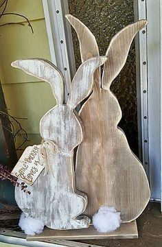 """""""Some Bunny Loves You"""" Wood Bunnies by Kristina Oakley Easter Projects, Easter Crafts, Wooden Crafts, Diy And Crafts, Wooden Diy, Hoppy Easter, Easter Bunny, Diy Easter Decorations, Wood Cutouts"""