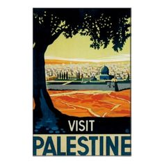 Framing with the tree. Vintage Palestine Travel Poster Art