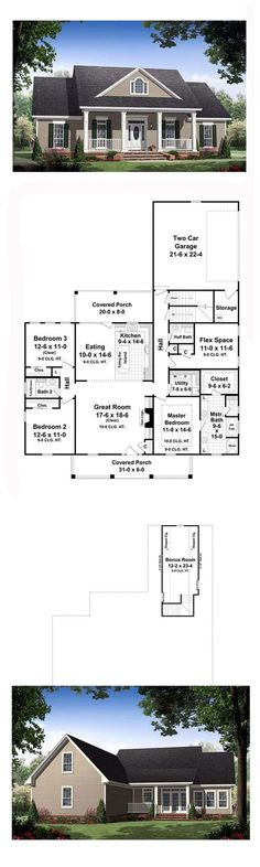 Country House Plan 59155 | Total Living Area: 1903 sq. ft., 3 bedrooms and 2.5 bathrooms. The great room has gas logs as well as built-in cabinets and 10' ceilings that make it a great place to relax and spend time with family and friends. The rear covered porch provides a great space for those summer cookouts as well as being close to the kitchen. #countryhome