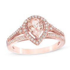 Pear-Shaped+Morganite+and+1/4+CT.+T.W.+Diamond+Frame+Split+Shank+Ring+in+10K+Rose+Gold