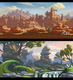 two backgrounds for a mobile game