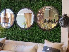 Round Etched Glass Wall Mirrors - http://www.hudsongoodsblog.com/round-etched-glass-wall-mirrors/