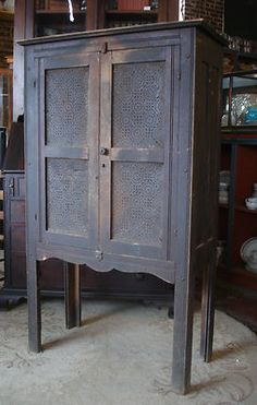 Antique Early Southern Primitive 1850s Oak Punch Tin Door All Original Pie Safe