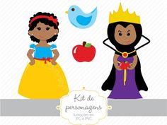 Kit de personagens - Branca de Neve Negra » Personagens » Estúdio Tuty Princess Peach, Disney Princess, Disney Characters, Fictional Characters, Birthday, Snow White, 1, Black, Creative Gifts