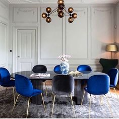 Dining space with a pop of navy