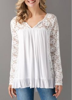 White Lace Yoke and Sleeves V Neck Blouse on sale only US$29.69 now, buy cheap White Lace Yoke and Sleeves V Neck Blouse at liligal.com