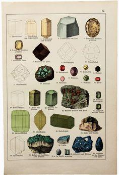 vintage mineral illustration from Das Mineralreich in Bildern, by Johann Gottlob von Kurr, 1857
