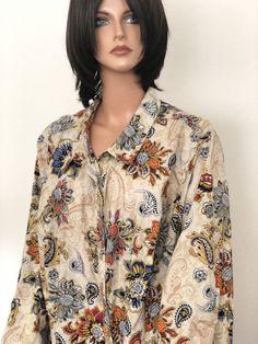 7cb46fa878e Catherines Plus Size 3X Cotton Shirt Paisley Floral Designer Fashion Soft   Catherines  ButtonDownShirt California