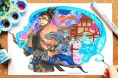 """+Hanzo - Overwatch+ by larienne    """"This is the portrait of Hanzo commissioned by Blizzard Entertainment! He comes from their new game, 'Overwatch'. Hanzo is such a cool character - he has a wonderful design, his story is interesting, and drawing him was a true challenge that brought priceless experience! From my point of view, it was a great artistic journey, truly one of a kind."""" —larienne"""