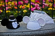 Mickey Mouse Bride and Groom Wedding Ear Hats I actually bought these in Disneyland and had mine and Mike's name on them...