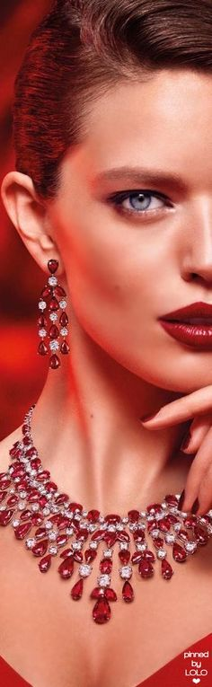 Emily DiDonato f Modelo Emily, Emily Didonato, Pink Gemstones, Glitz And Glam, Red Fashion, Shades Of Red, Girls Best Friend, Lady In Red, Wedding Jewelry