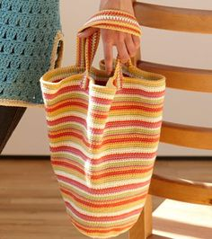This colorful beach bag is a great project.  Start it now and have it ready for summer beach days.
