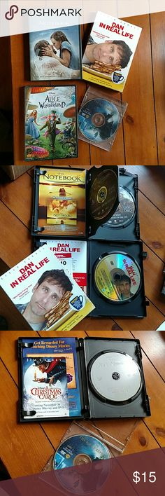 Alice, Polar Express,Dan real life, Notebook DVD's Adult Owned DVD movies Alice in Wonderland (Johnny Depp) The Polar Express  Widescreen, Dan in real life ( Steve Carell) The Notebook (Ryan Gosling).  please note all in original cases except The Polar Express. mixed Other