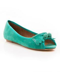Look what I found on #zulily! Green Suede Beth Peep-Toe Flat #zulilyfinds