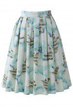 Flying Melody Bird Print Pleated Skirt
