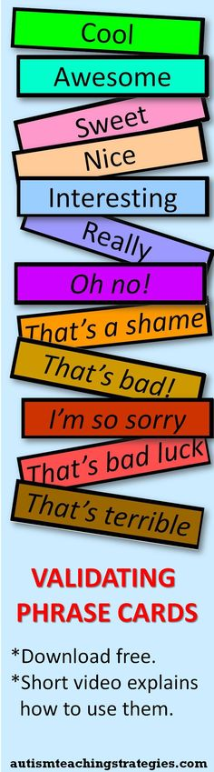 These word cards are simple to print to download, print and cut out. You use them to offer visual reminders for children with Asperger's and other autism spectrum disorders to acknowledge and respond to others in conversation. I include a short video demonstration.  This was pinned by pinterest.com/joelshaul/ . Tags: Asperger's, autism, social skills teaching, conversation, SLP. Repinned by SOS Inc. Resources.  Follow all our boards at http://pinterest.com/sostherapy  for therapy resources.