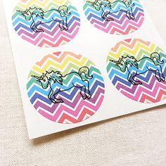 "Pack of 30 1.5"" rainbow unicorn stickers for kids birthday party, with an…"