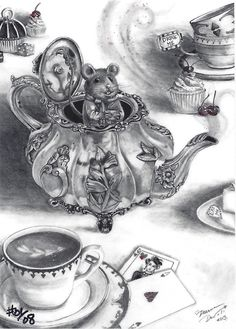 Dormouse ACEO Mouse Aceo Alice in Wonderland ACEO ATC Fantasy Art Victorian Teapot by deannadavoli on Etsy