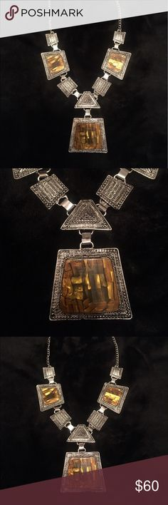 Statement Necklace Brown Chroma Silvertone necklace. 18-20 inches.  Stunning! Comes gift boxed. Karis Jewelry Necklaces