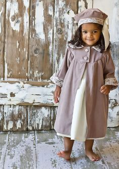 Lace Overlay Dress Coat and Hat in Taupe - I want for Juliet so badly.