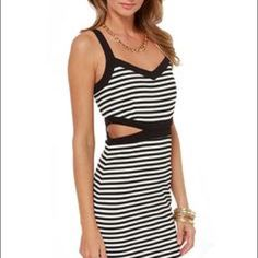 """JACK BY BB DAKOTA Mac Stripe Cut Out Details: - V-neck - Sleeveless - Back zip closure - Side wedge cutout detail - Allover stripe print - Approx. 38"""" length - Imported Fiber Content: 75% polyester, 20% rayon, 5% spandex Care: Hand wash  SOLD OUT IN STORES AND ONLINE  NON-NEGOTIABLE NO TRADES  ✅20% off bundles BB Dakota Dresses Mini"""