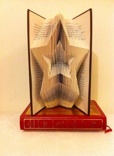 Christmas Star Folded Book Art Pattern and by FoldilocksBookArt