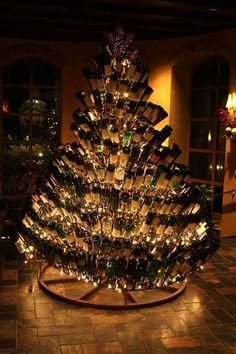 christmas trees made of wine bottles the creators were ped out
