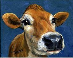 Jersey Cow Cow Art Contemporary Farm Art Kitchen Art Art for Children Farm Animal Art Print of Original Painting by Dottie Dracos Holstein Cows, Popular Paintings, Pig Art, Cow Painting, Painting Canvas, Canvas Art, Farm Art, Animal Paintings, Oeuvre D'art