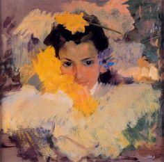 Girl with flowers - Joaquín Sorolla