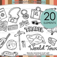Travel Doodle Clip Art PNG Instant Download Traveling by Nedti
