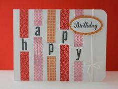 New Birthday Card Design Ideas Washi Tape Ideas Handmade Birthday Cards, Greeting Cards Handmade, Diy Birthday, Simple Birthday Cards, Cumpleaños Diy, Birthday Card Design, Bday Cards, Kirigami, Paper Cards