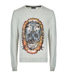 JUST CAVALLI Skull Print Sweatshirt. #justcavalli #cloth #